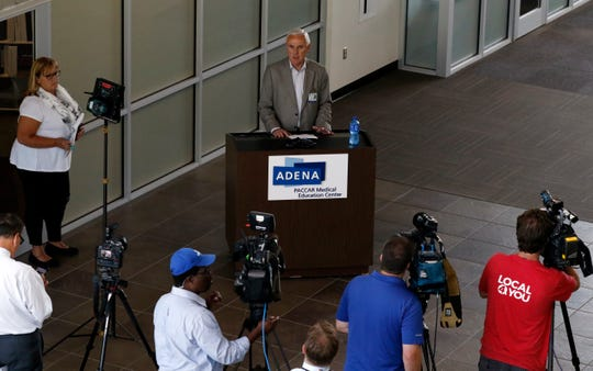 Adena Regional Medical Center Jeff Graham speaks during a press conference Wednesday, Aug. 29, 2018, at the hospital in Chillicothe.