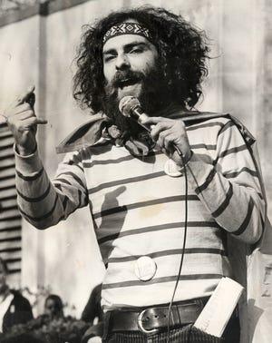 Yippie leader Jerry Rubin addressed a crowd in Eden Park in 1969.