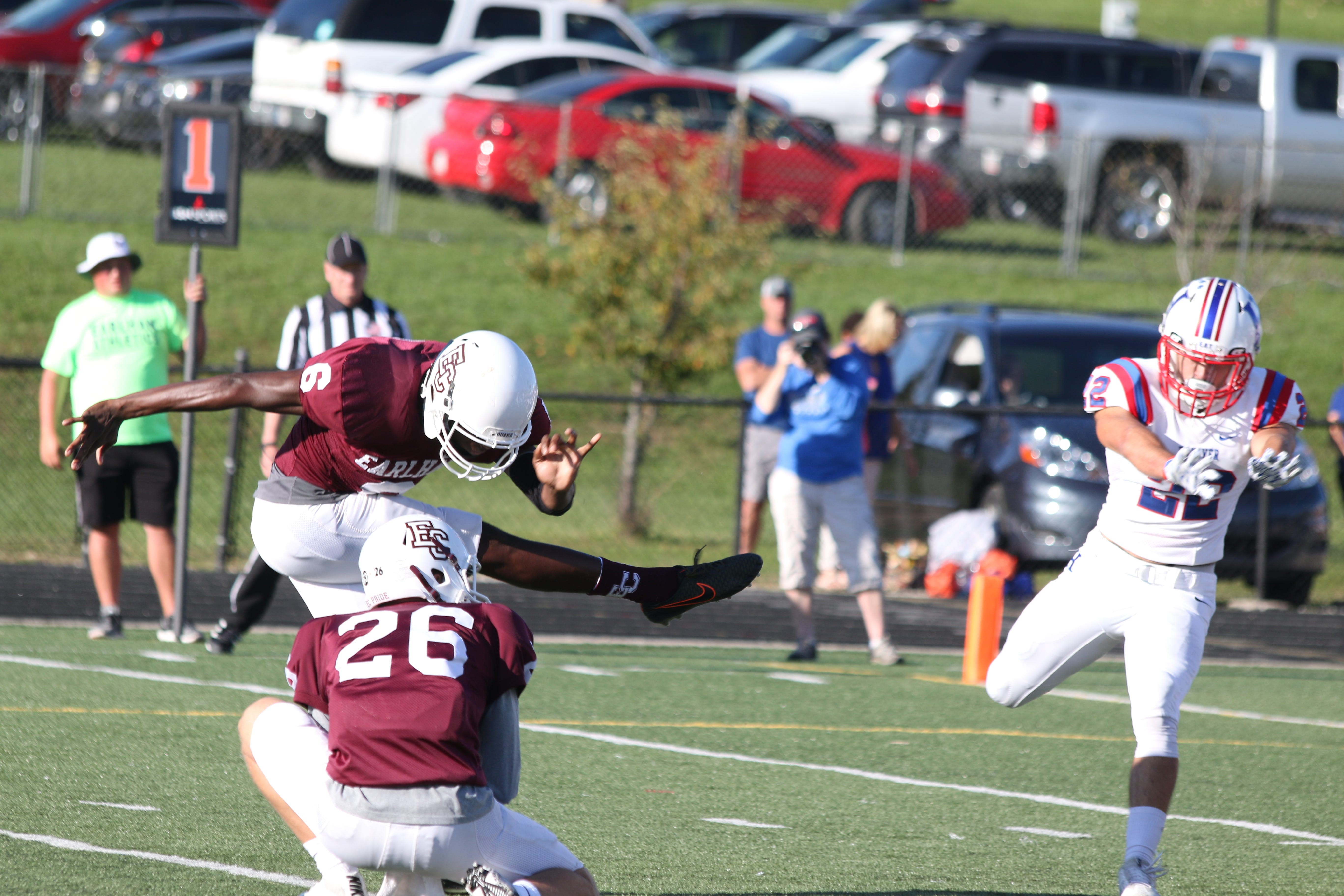 Justin Kerobo, a Winton Woods graduate, kicks for the Earlham College football team in an Oct. 21, 2017, game with Hanover.