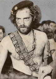 Jerry Rubin, one of the leaders in the  demonstrations during the 1968 Democratic convention in Chicago, appeared before the House Committee on Un-American Activities wearing a bandolier with live ammunition and carrying a toy M-16 rifle.