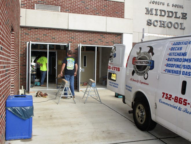 A second set of exterior doors being installed this summer at the main entrance to Soehl Middle School in Linden so that visitors will have to be buzzed in twice by staff members. These retention vestibules will be in operation at all Linden Public Schools starting in September.