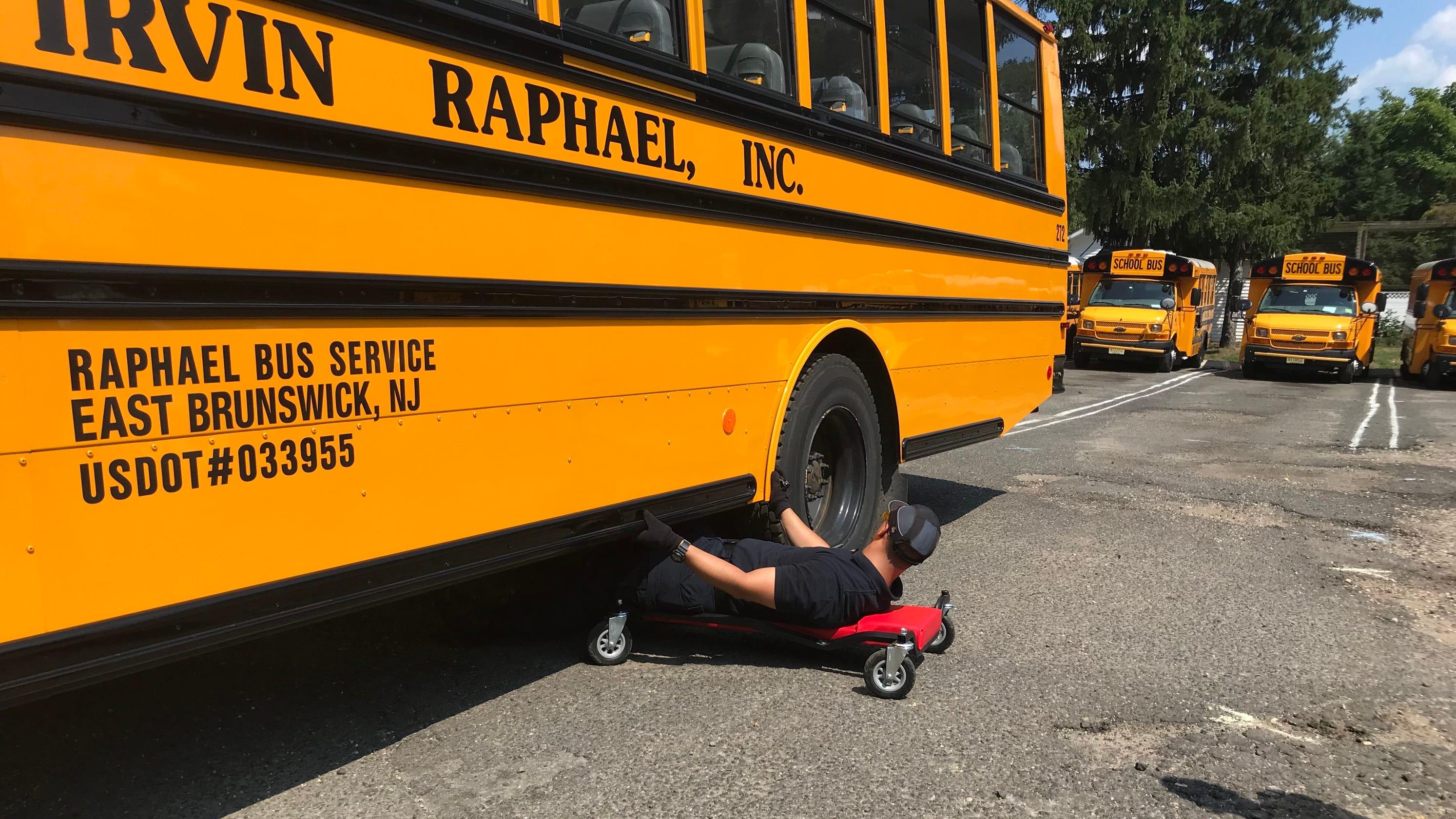 nj mvc 39 s school bus inspection unit conducts safety checks at irvin raphael inc. Black Bedroom Furniture Sets. Home Design Ideas