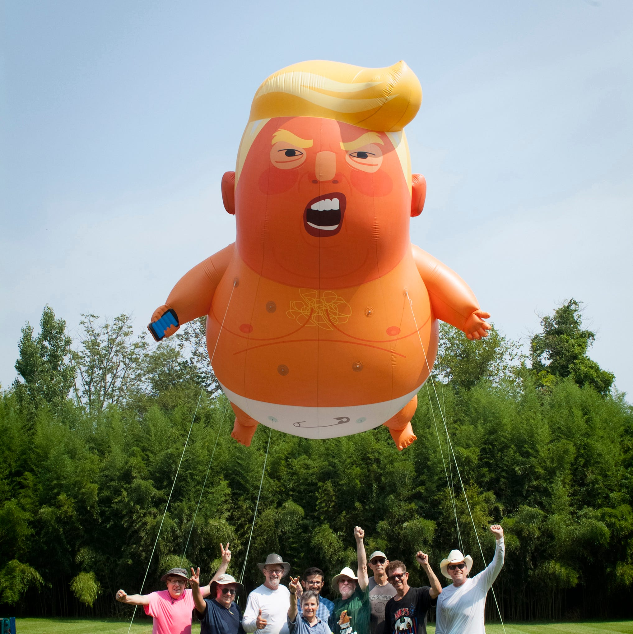 The first Baby Trump balloon has taken flight in NJ.