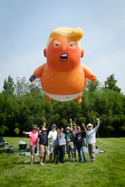 The first Baby Trump balloon has taken flight in New Jersey.