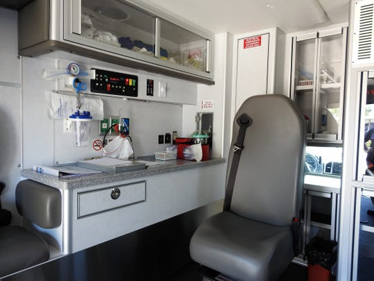 The rear interior of a new ambulance Coshocton County Emergency Medical Services is leasing to own to improve its aging fleet of vehicles.