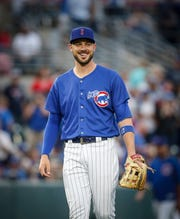 Iowa third baseman Kris Bryant smiles at teammates after a defensive play against Oklahoma City on Tuesday, Aug. 28, 2018, at Principal Park in Des Moines.