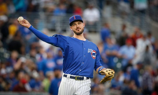 Iowa third baseman Kris Bryant fires a throw to first between innings against Oklahoma City on Tuesday, Aug. 28, 2018, at Principal Park in Des Moines.