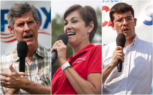 Fred Hubbell, Kim Reynolds and Jake Porter, Iowa's candidates for governor 2018