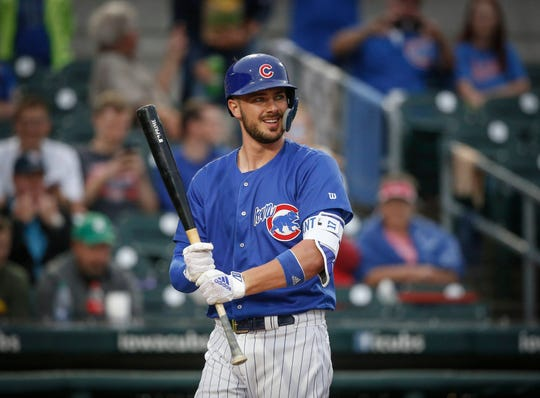 Iowa third baseman Kris Bryant is all smiles as he steps up to the plate against Oklahoma City on Tuesday, Aug. 28, 2018, at Principal Park in Des Moines.