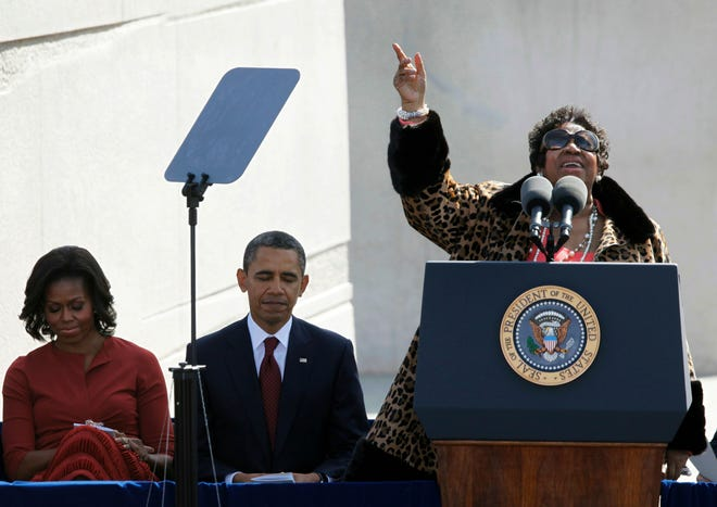 FILE -- In this Oct. 16, 2011, file photo, Aretha Franklin sings before President Barack Obama speaks during the dedication of the Martin Luther King Jr. Memorial in Washington.