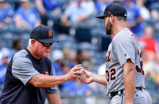 Tigers pitcher Michael Fulmer is relieved by manager Ron Gardenhire in the fourth inning of the Tigers' 9-2 loss to the Royals on Wednesday, Aug. 29, 2018, in Kansas City, Mo.