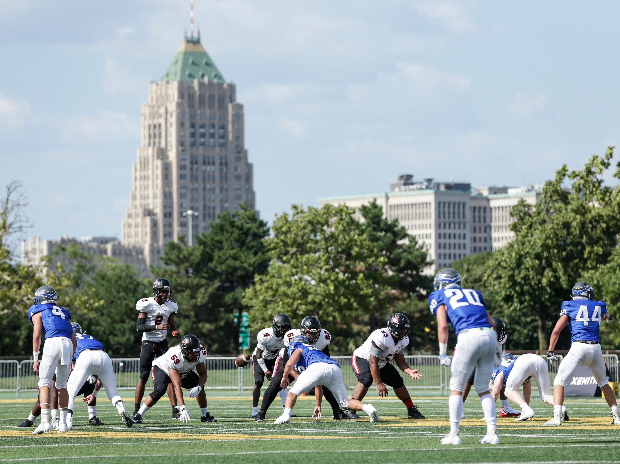 Oak Park faces Utica Eisenhower during the first half of a Prep Kickoff Classic game at Wayne State University's Tom Adams Field in Detroit, Thursday, August 23, 2018.
