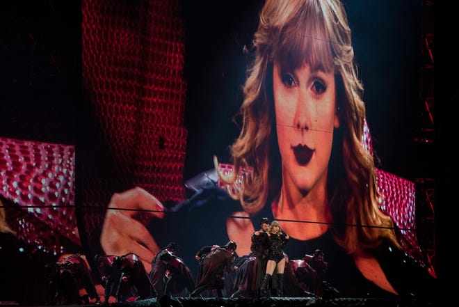 Taylor Swift performs during her Reputation Stadium Tour at Ford Field on Aug. 28, 2018, in Detroit.