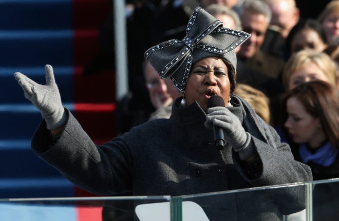 In this Jan. 20, 2009, file photo, Aretha Franklin performs at the inauguration for President Barack Obama at the U.S. Capitol in Washington. Franklin died Thursday, Aug. 16, 2018, at her home in Detroit. She was 76.