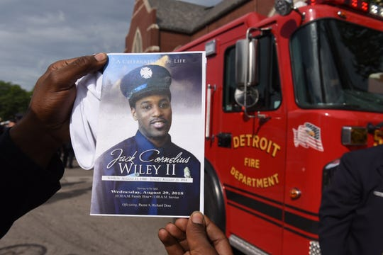 The program for firefighter Jack WIley II's funeral.