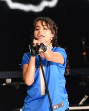 Camila Cabello performs during the Taylor Swift Reputation tour at Ford Field in Detroit on Aug. 28, 2018.