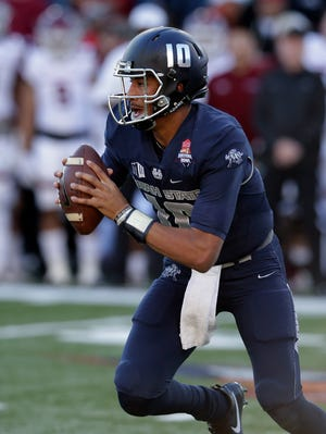 Utah State quarterback Jordan Love started the final six games last season as a redshirt freshman, finishing with 1,631yards passing and eight touchdowns. He did have trouble protecting the ball, throwing six interceptions.