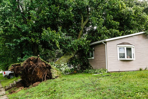 A tree fell on a house Tuesday, August 28, 2018 at 409 Fond du Lac Ave. in Waupun, Wisconsin. During the afternoon, fierce storms hit Fond du Lac, with a possible tornado arriving in places.