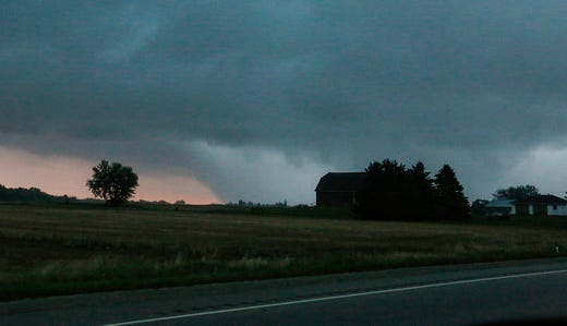 A potential tornado is seen from the area of Waupun, Wisconsin, on August 28, 2018. In the afternoon, fierce storms hit the Fond du Lac County, causing damage in many places.