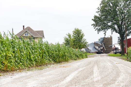 A barn was completely destroyed Tuesday, Aug. 28, 2018, at the intersection Cattaraugus Road and Brown Road north east of Waupun, Wisconsin. Severe weather raked across Fond du Lac County during the afternoon with a possible tornado touching down in some locations.