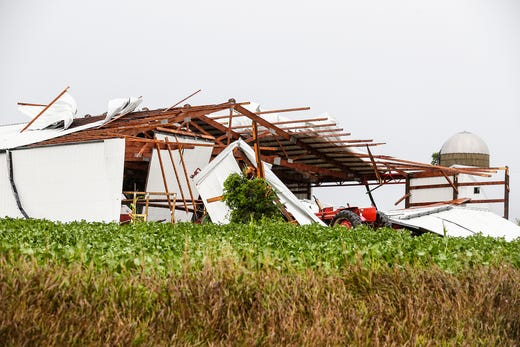 A pillar shed was severely damaged by Oakfield on August 28, 2018 at 2605 Center Line Road in the city. In the afternoon, fierce storms set in Fond du Lac County with a possible tornado that landed in some places.