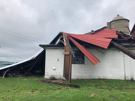 Archie Serwe's destroyed barn in Byron.