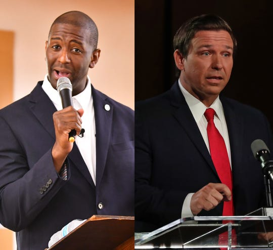Florida gubernatorial candidates Andrew Gillum (D), left, and Ron DeSantis (R), right