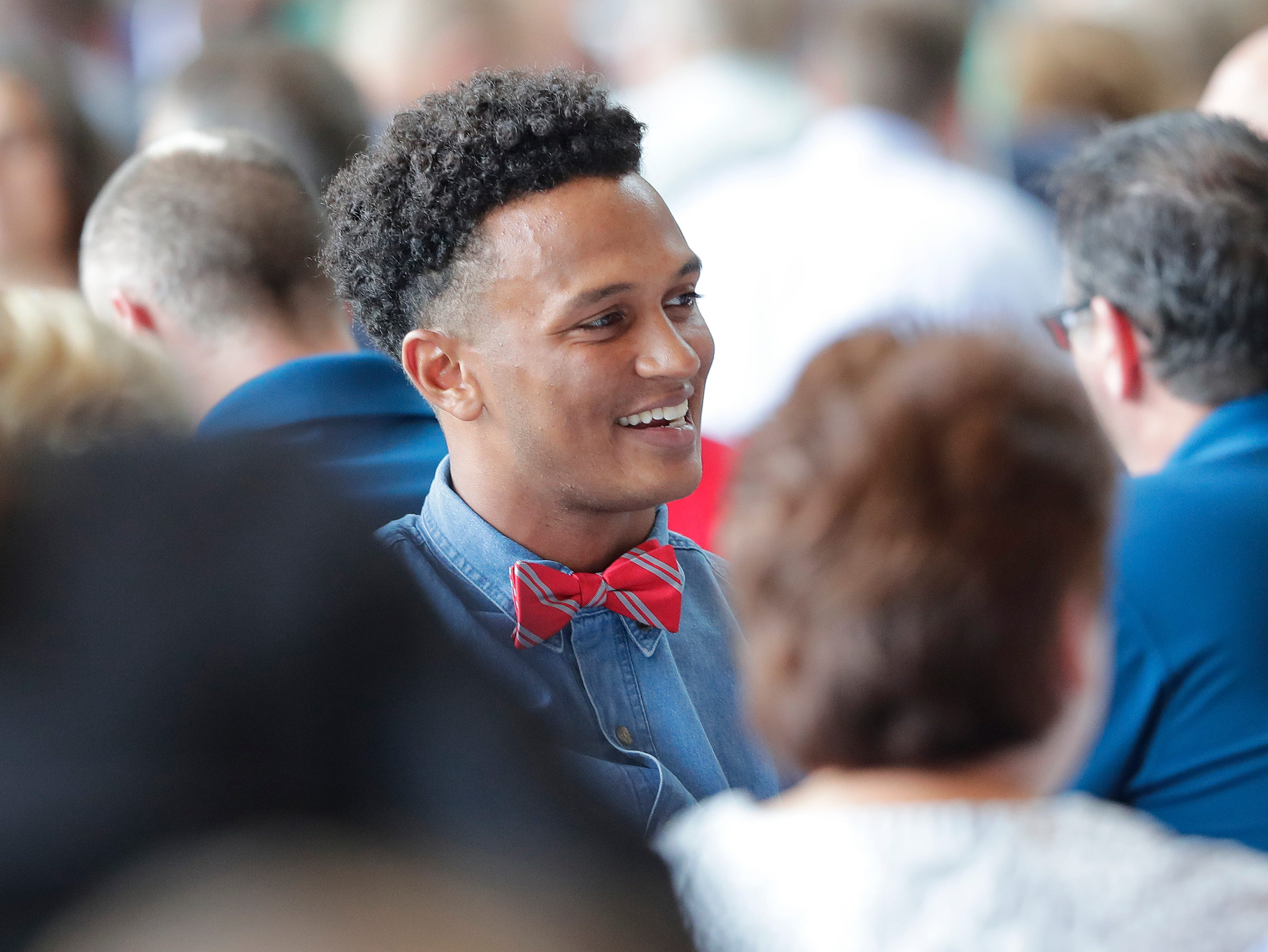 Green Bay Packers quarterback DeShone Kizer (9) during the Green Bay Chamber of Commerce Welcome Back Packers Luncheon at Lambeau Field Wednesday, August 29, 2018 in Green Bay, Wis.