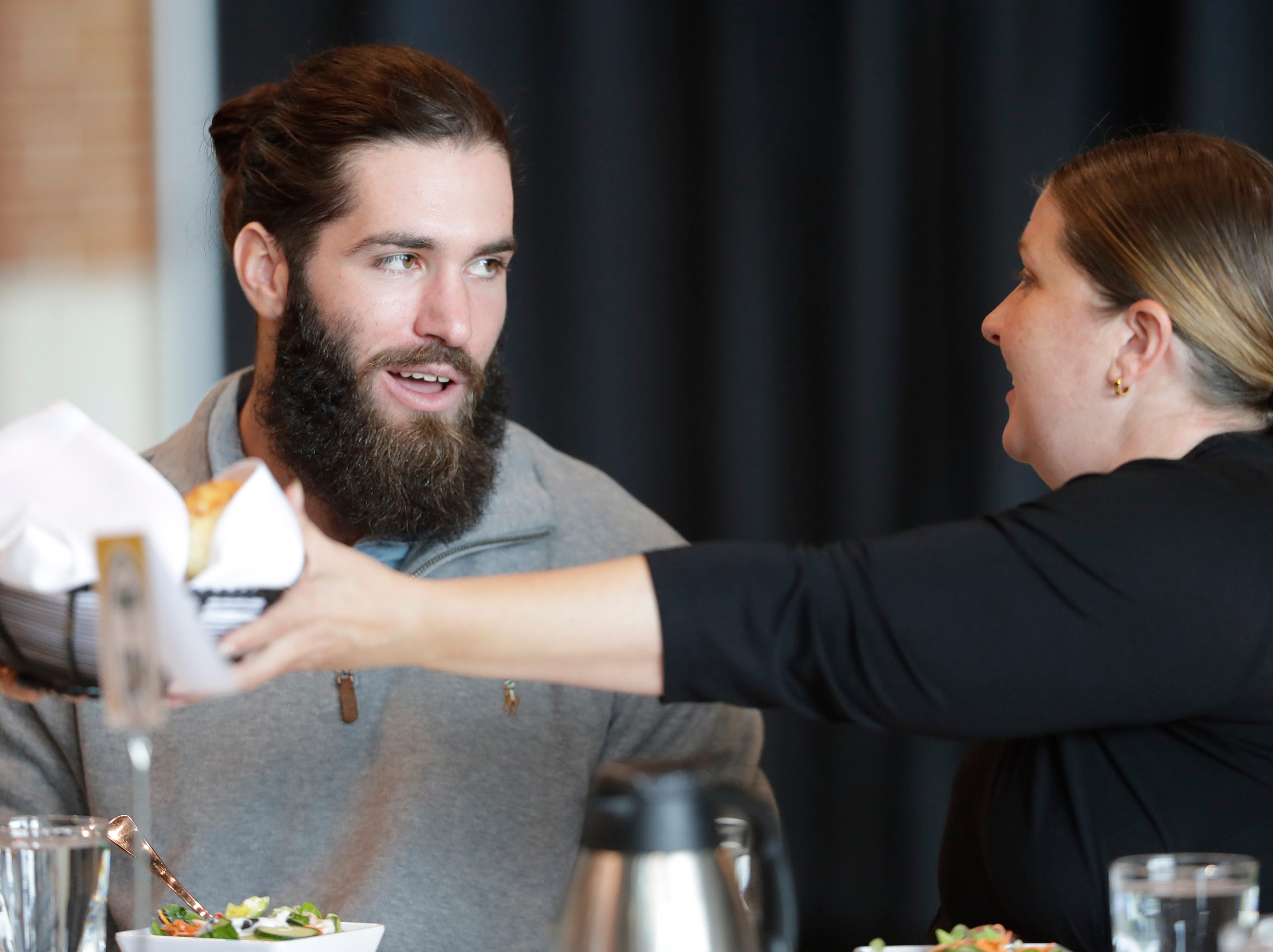 Green Bay Packers wide receiver Jake Kumerow (16) talks during the Green Bay Chamber of Commerce Welcome Back Packers Luncheon at Lambeau Field Wednesday, August 29, 2018 in Green Bay, Wis.