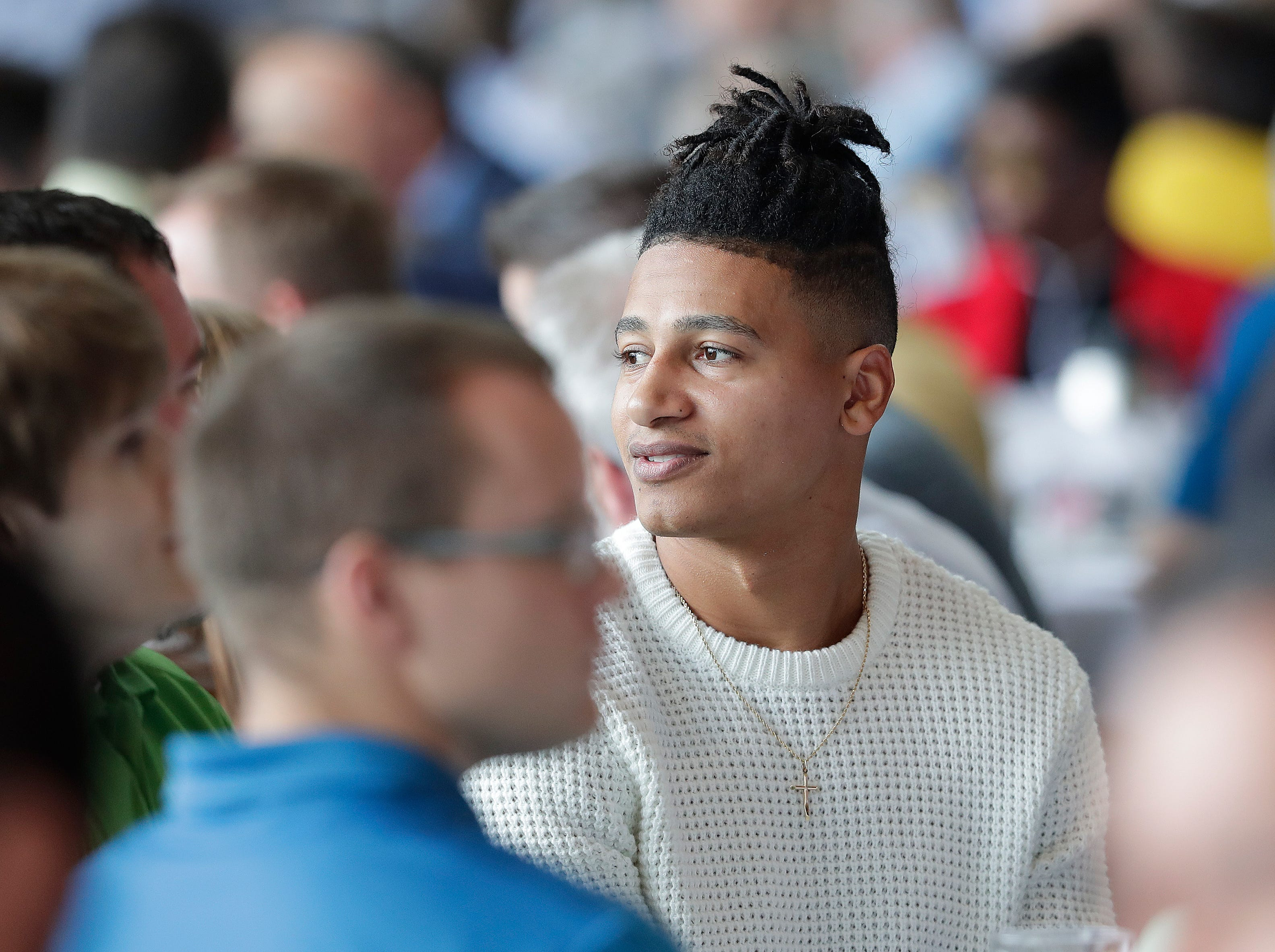 Green Bay Packers wide receiver Trevor Davis (11) during the Green Bay Chamber of Commerce Welcome Back Packers Luncheon at Lambeau Field Wednesday, August 29, 2018 in Green Bay, Wis.