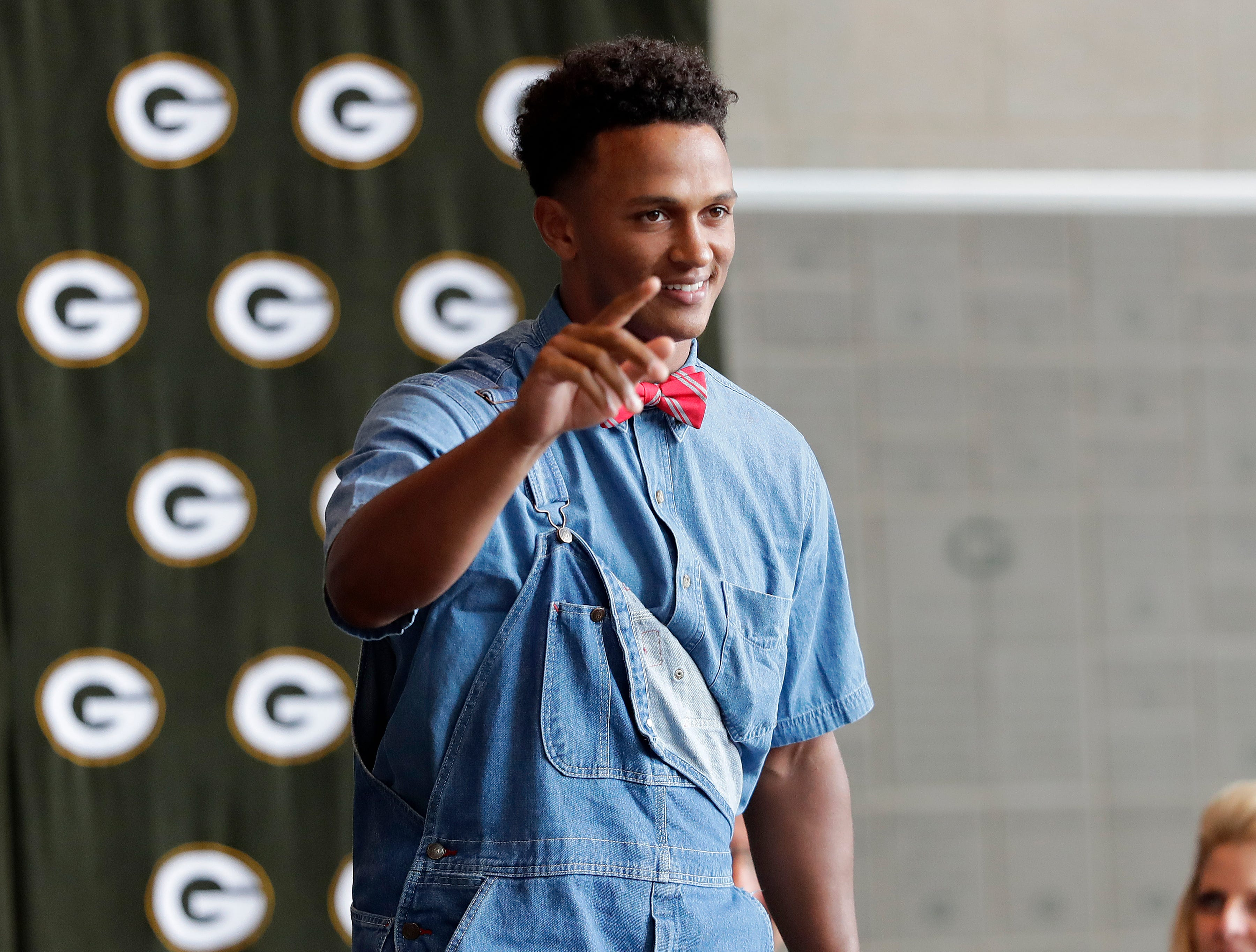 Green Bay Packers quarterback DeShone Kizer (9) shows his denim side during the Green Bay Chamber of Commerce Welcome Back Packers Luncheon at Lambeau Field Wednesday, August 29, 2018 in Green Bay, Wis.