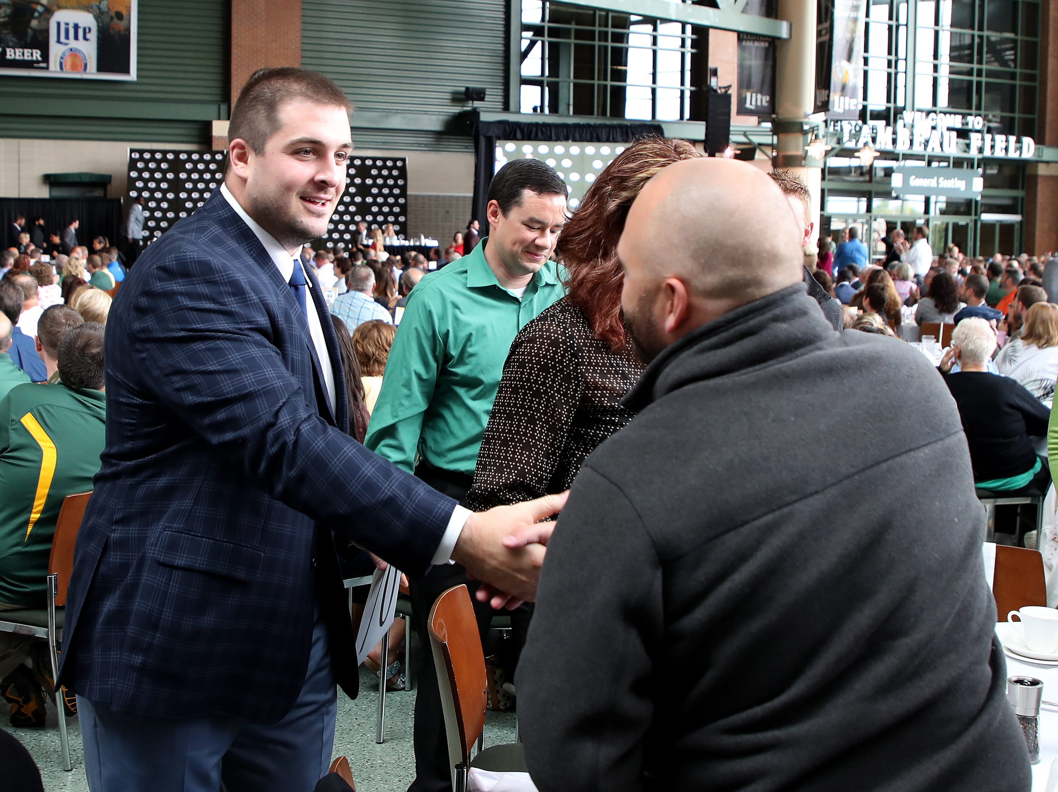 Green Bay Packers center Corey Linsley (63) during the Green Bay Chamber of Commerce Welcome Back Packers Luncheon at Lambeau Field Wednesday, August 29, 2018 in Green Bay, Wis.