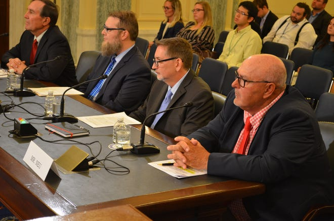 Patrick Neu, far right, of Forestville testifies at a U.S. Senate subcommittee hearing.