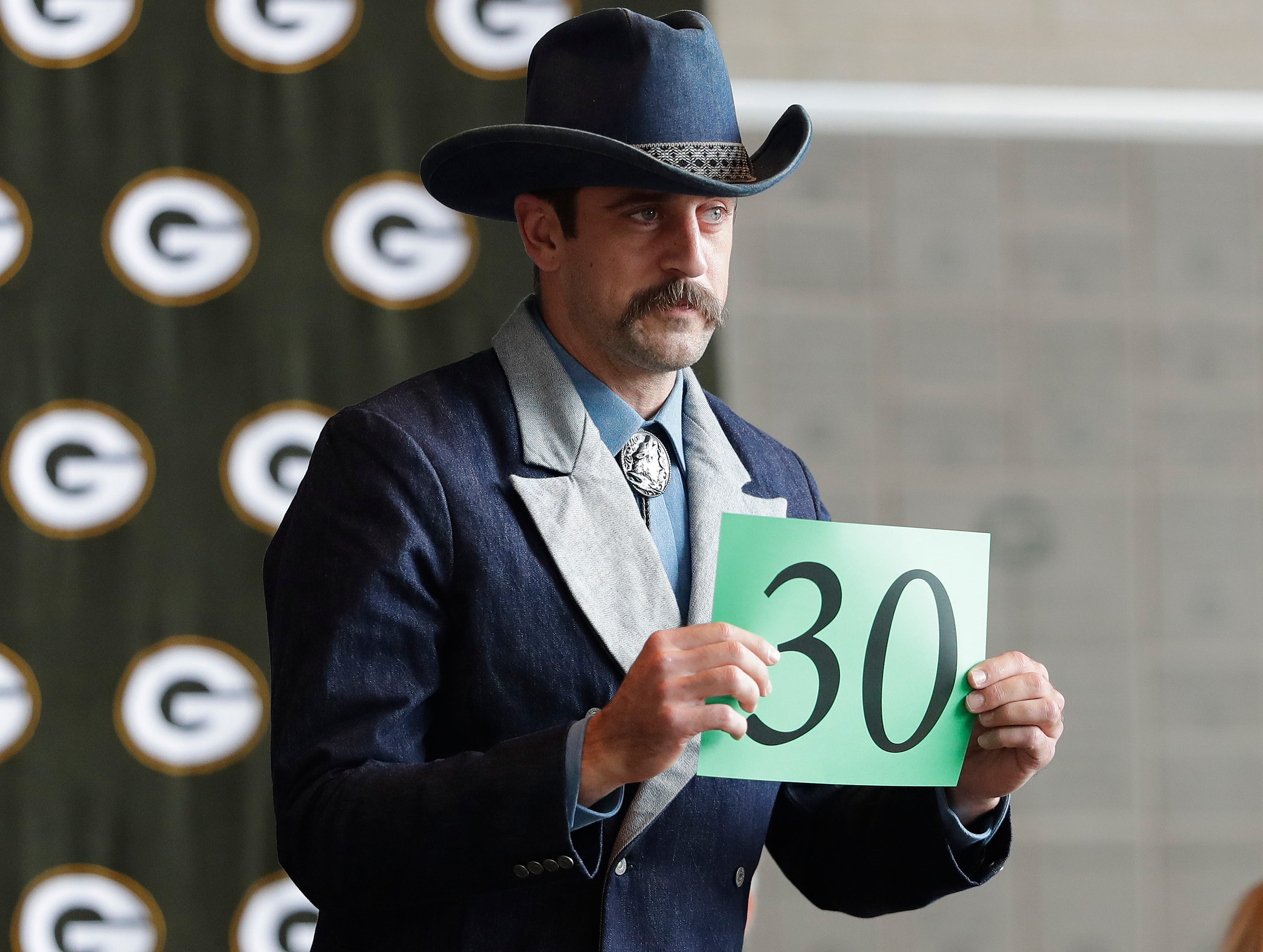 Green Bay Packers quarterback Aaron Rodgers (12) during the Green Bay Chamber of Commerce Welcome Back Packers Luncheon at Lambeau Field Wednesday, August 29, 2018 in Green Bay, Wis.