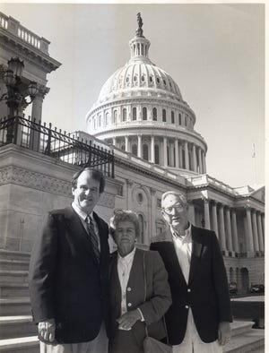 Former U.S. Rep. Butler Derrick, left, with Barbara Gaines of Anderson and her husband Robert.