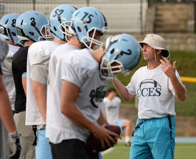 Willis Burkett, an assistant at Christ Church, is in his 48th season overall as a high school football coach.