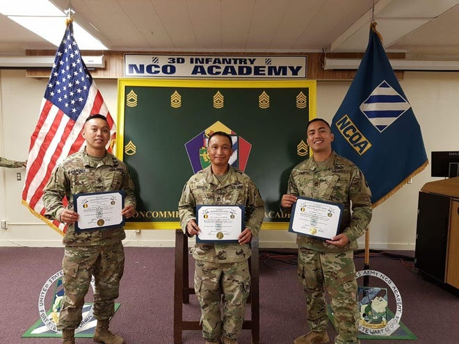 Sergeant First Class Czyz Leonen, Carlito Dahilig and Brian Cruz, from the Guam Army National Guard, became the first Guam Guard Soldiers to attend and graduate from the U.S. Army's Master Leaders Course, on August 27 at the Noncommissioned Officers Academy, Fort Stewart, Georgia.