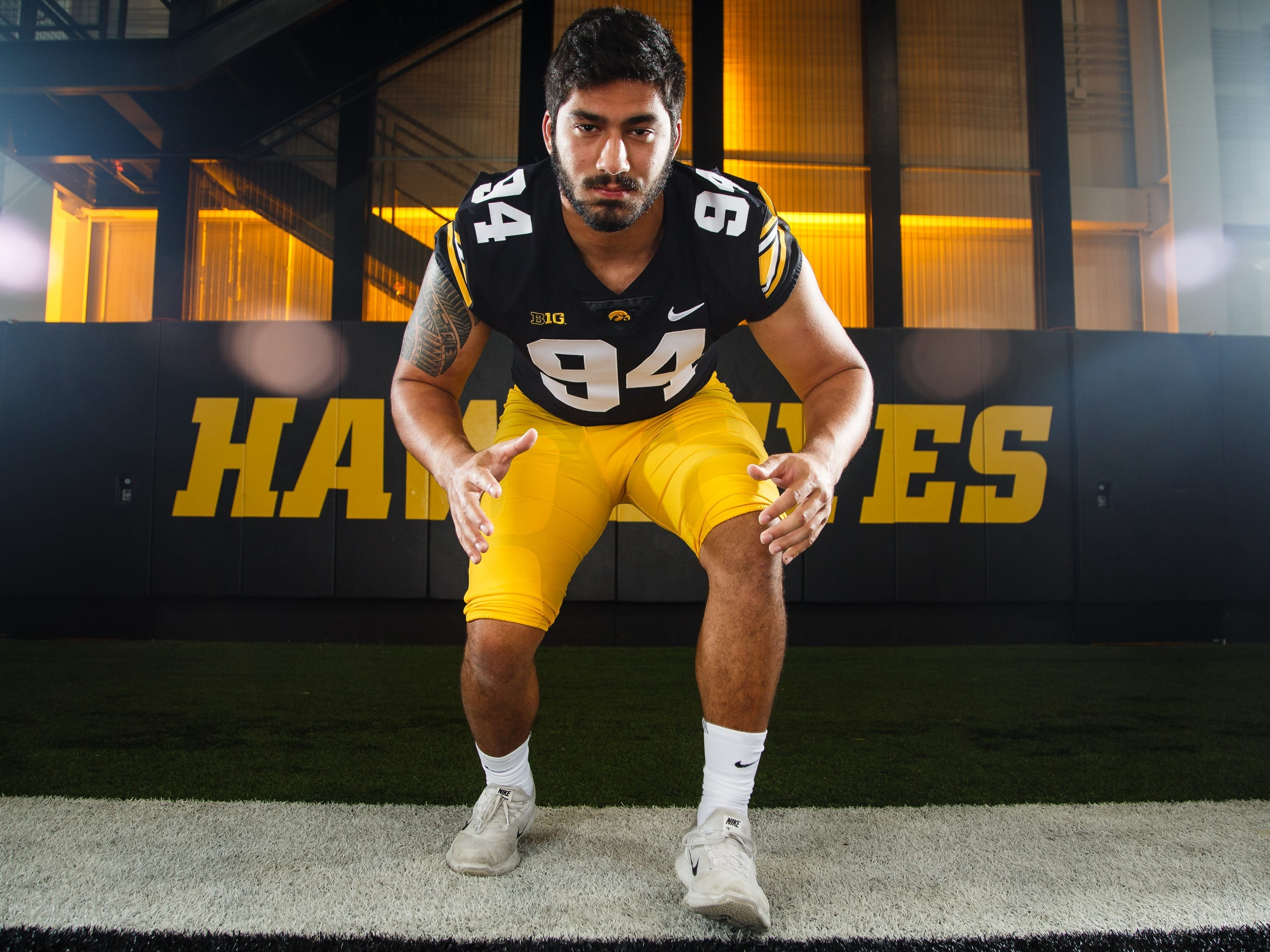 Iowa's A.J. Epenesa poses for a photo during the Iowa Football media day on Friday, Aug. 10, 2018 in Iowa City.