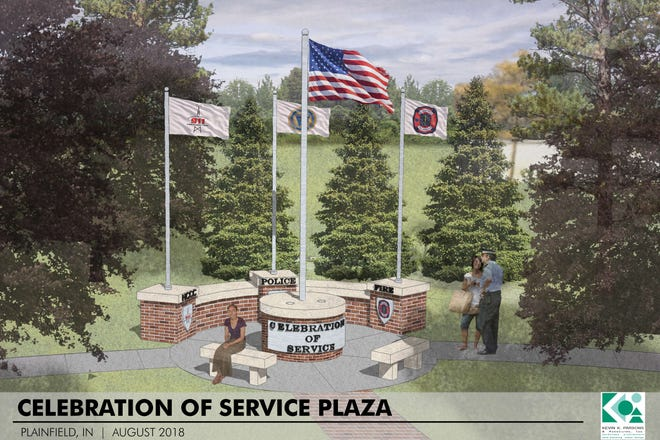 """The Plainfield community has donated about $10,000 to help build a $97,000 """"Celebration of Service Plaza"""" honoring police, firefighters and other public safety workers."""