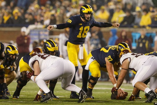 Michigan quarterback Brandon Peters begins the season second on the depth chart.