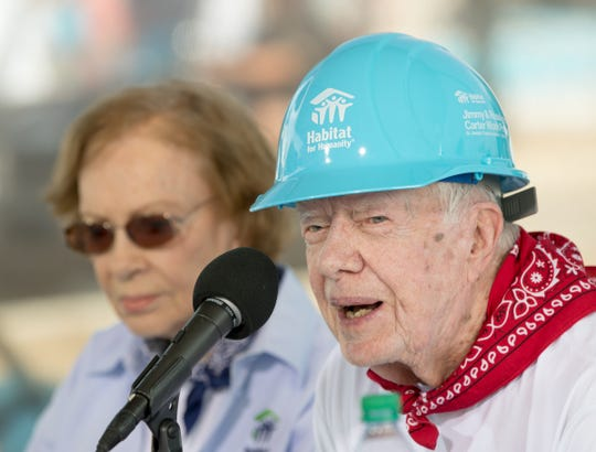 President Jimmy Carter, at a press conference for a Habitat for Humanity build in Mishawaka, Indiana, on Aug. 27, 2018. The project is putting 22 homes up this week for families that will take over the affordable mortgages in this all-Habitat neighborhood.