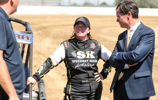 Sarah Fisher Tests The Dirt Track At Indianapolis Motor Speedway Ahead Of The Inaugural Driven2savelives Bc39 Presented By Nos Energy Drink For The Usac P1 Insurance National Midget Championship