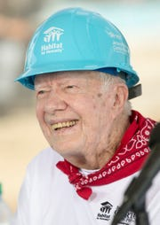President Jimmy Carter, at a press conference for a Habitat for Humanity build in Mishawaka, Monday, Aug. 27, 2018. The project is putting 22 homes up this week for families that will take over the affordable mortgages in this all-Habitat neighborhood.