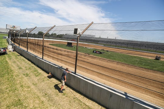 A quarter-mile dirt track was recently built inside turn three of Indianapolis Motor Speedway, seen Wednesday, Aug. 29, 2018. The temporary track is the site of the inaugural Driven2SaveLives BC39 presented by NOS Energy Drink for the USAC National Midget Championship, on Sept. 5 and Sept. 6, 2018. More than 100 cars are entered for the race that will kick off five consecutive days of racing at IMS.
