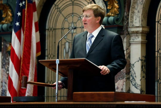 Lt. Gov. Tate Reeves drops the gavel, calling for a recess subject to his call as the Senate waits for Gov. Phil Bryant to expand the call of the Special Session of the Legislature, Tuesday afternoon, Aug. 28, 2018, at the Capitol in Jackson, Miss. Since both chambers passes a state lottery bill, they are waiting for the expanded call so they can deal with the BP economic damages settlement.