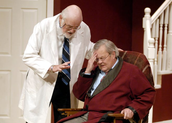 """In a 2009 photo, Dean Hunter, portraying Dr. Bradley, speaks to Arliss Jeffries, portraying Sheridan Whiteside, act out a scene during the Civic Theatre of Greater Lafayette rehearsal of """"The Man Who Came to Dinner."""""""