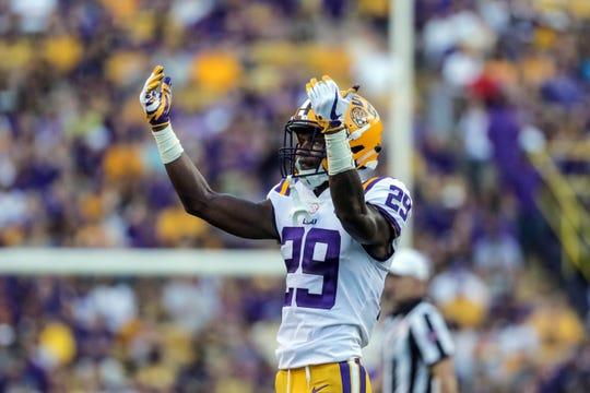 LSU cornerback Andraez Williams gestures during a game against the Syracuse at Tiger Stadium last season.