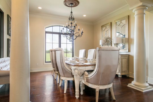 The elegant dining room is perfect for formal entertaining.