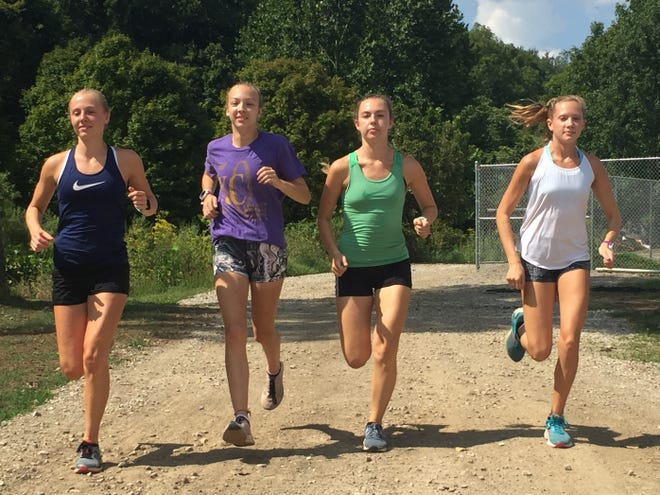 The Lancaster girls cross country team won began their season by winning the 14-team Elizabeth Broughton Invitational in Marietta last Saturday. Finishing in the top 10 for the Gales were, from left to right: Elise Johnson, Meagan Ward, Malauri Edwards and Sarah Craft.
