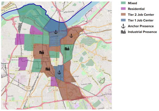 Louisville's Opportunity Zones are split into mixed, residential, Tier 1 and 2 job centers, anchor and industrial presences. Tier 1 job center are census tracts with a jobs to residents ratio greater than 10, while Tier 2 job centers have ratios between 2 and 10. An anchor presence census tracts have a hospital with 300 or more beds or a university with more than 5,000 students. An industrial presence census tract is one in which 20 percent of the jobs are classified as construction, manufacturing, transportation and warehouse with at least 1,000 jobs.